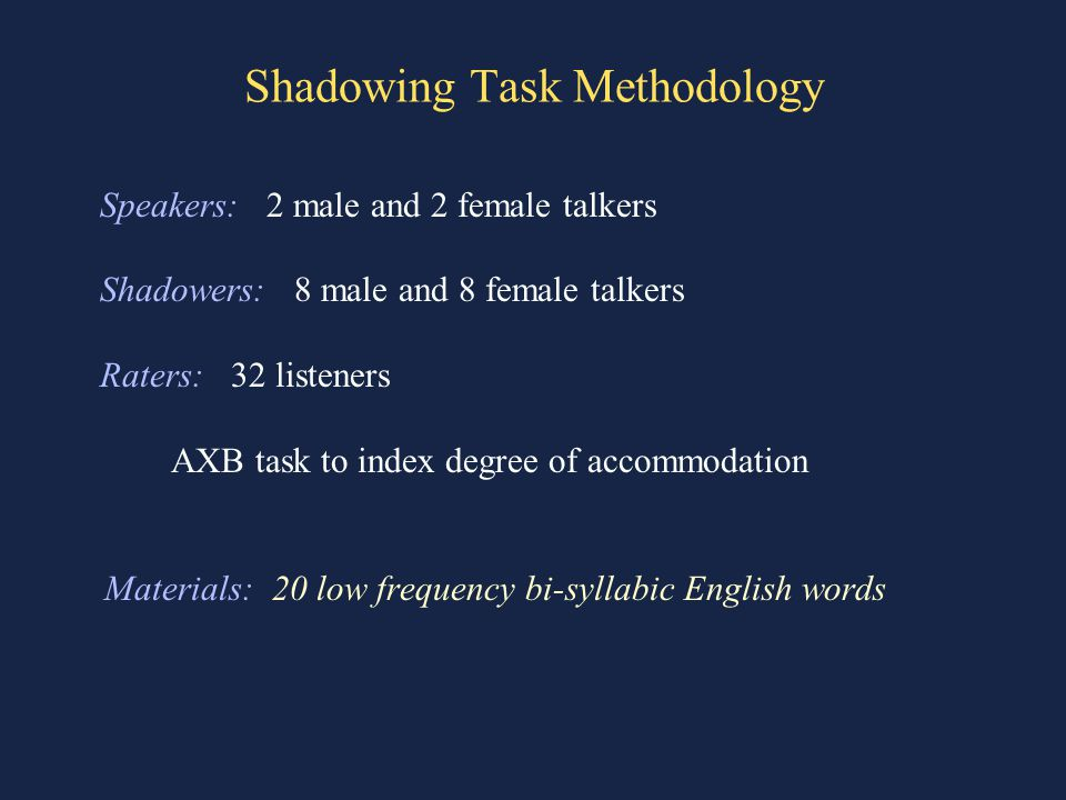 Shadowing Task Methodology Speakers: 2 male and 2 female talkers Shadowers: 8 male and 8 female talkers Raters: 32 listeners AXB task to index degree of accommodation Materials: 20 low frequency bi-syllabic English words