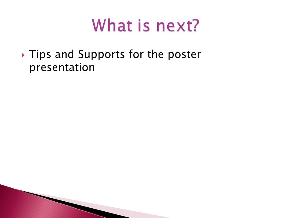 Tips and Supports for the poster presentation