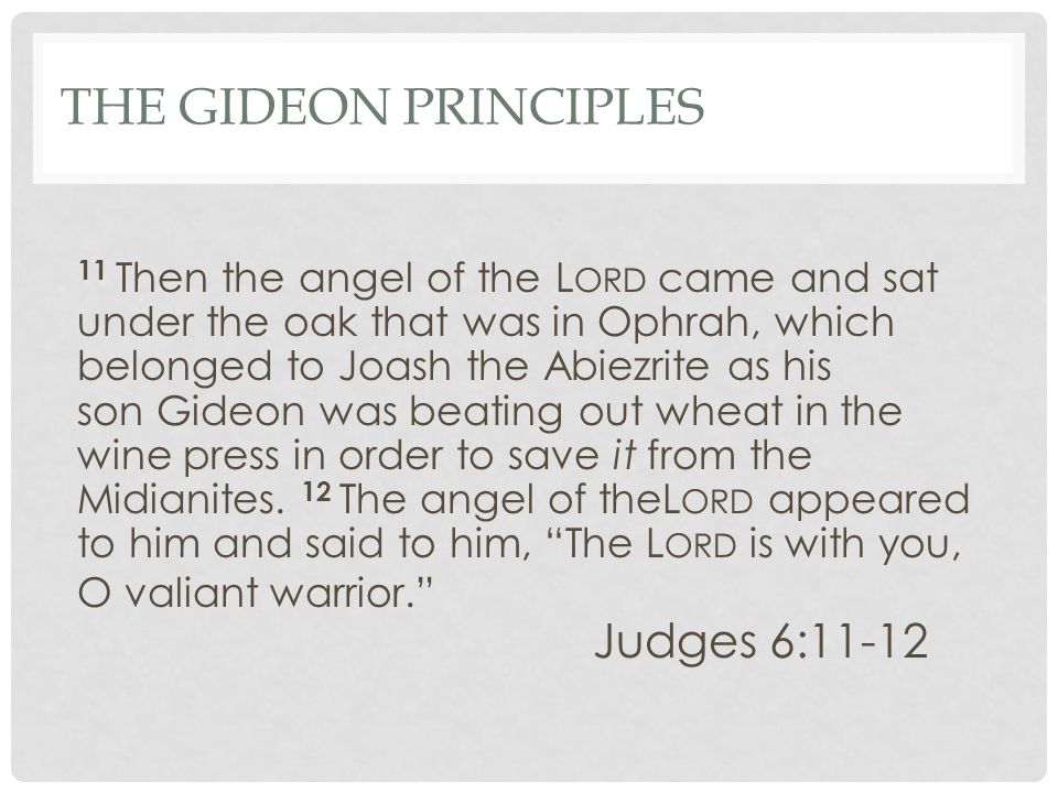 THE GIDEON PRINCIPLES 11 Then the angel of the L ORD came and sat under the oak that was in Ophrah, which belonged to Joash the Abiezrite as his son Gideon was beating out wheat in the wine press in order to save it from the Midianites.