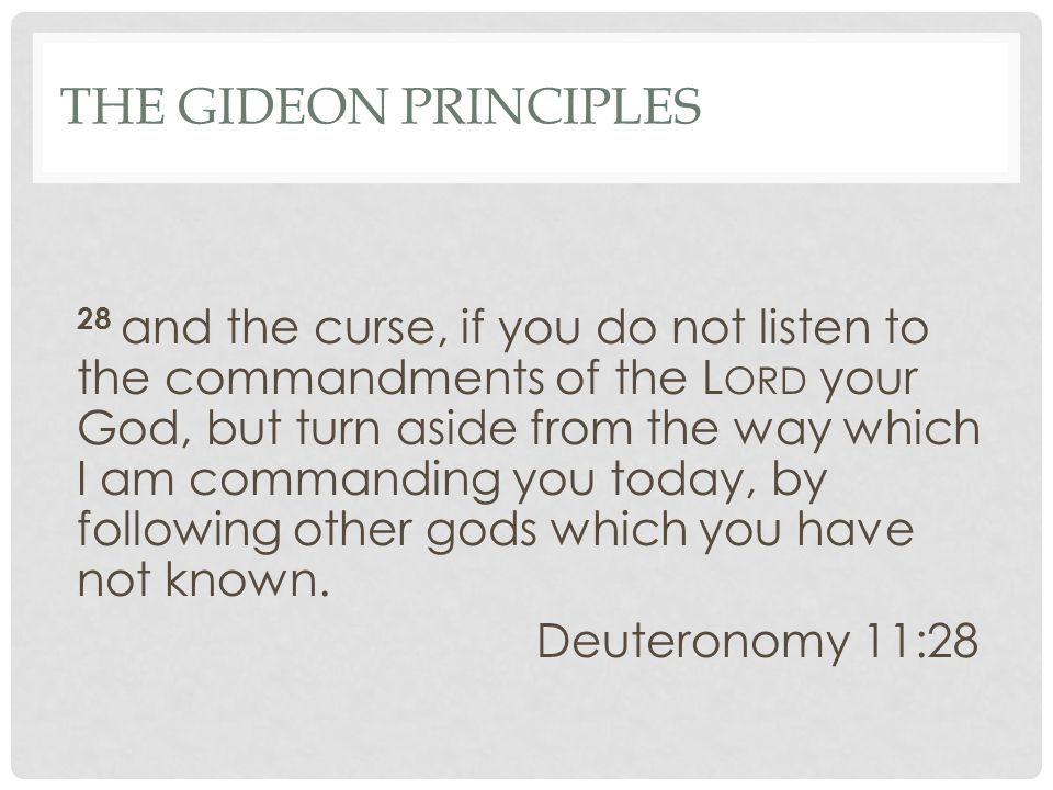 THE GIDEON PRINCIPLES 28 and the curse, if you do not listen to the commandments of the L ORD your God, but turn aside from the way which I am commanding you today, by following other gods which you have not known.