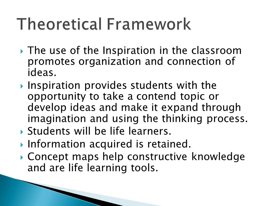  The use of the Inspiration in the classroom promotes organization and connection of ideas.