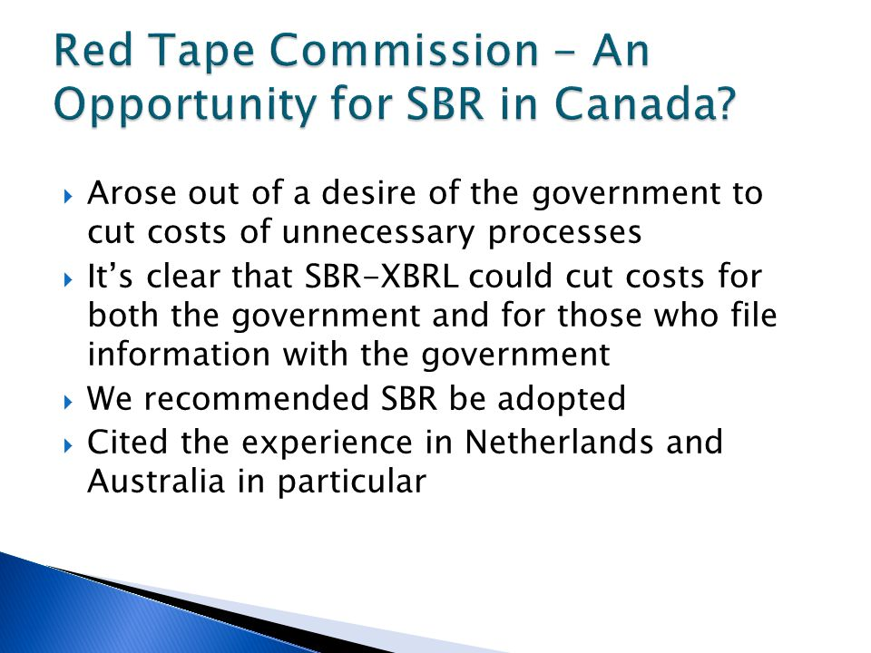  Arose out of a desire of the government to cut costs of unnecessary processes  It's clear that SBR-XBRL could cut costs for both the government and for those who file information with the government  We recommended SBR be adopted  Cited the experience in Netherlands and Australia in particular