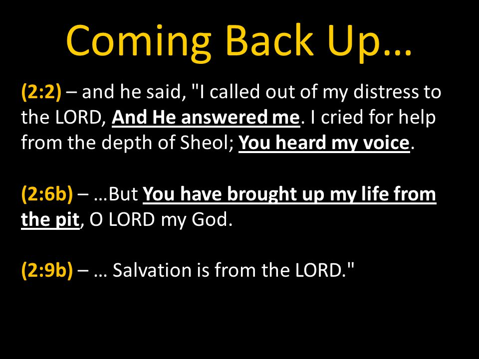 Coming Back Up… (2:2) – and he said, I called out of my distress to the LORD, And He answered me.