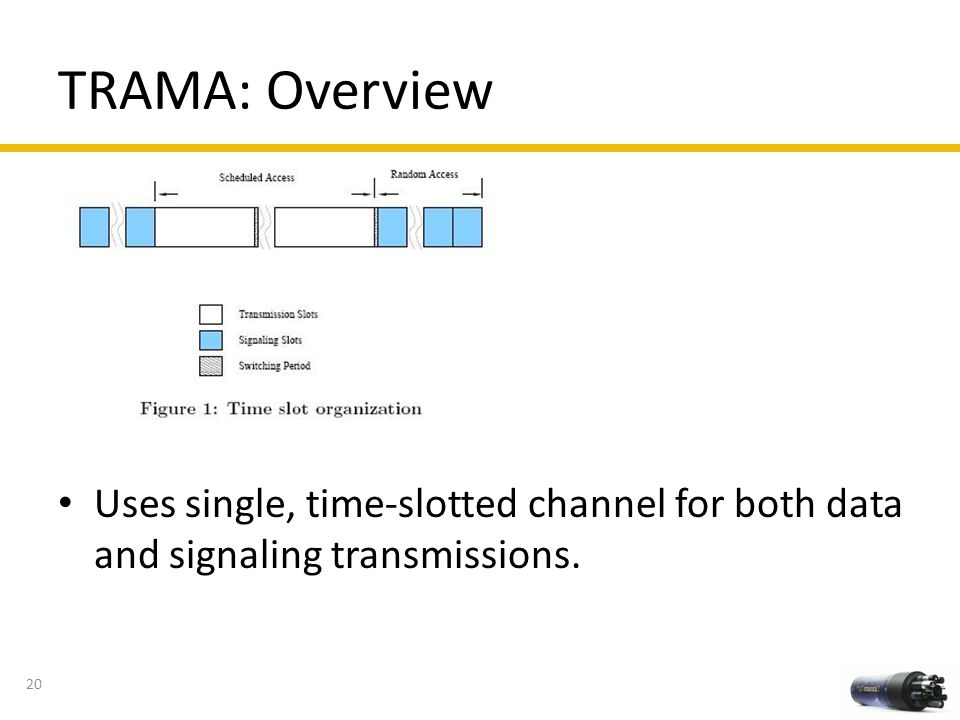 TRAMA: Overview Uses single, time-slotted channel for both data and signaling transmissions. 20