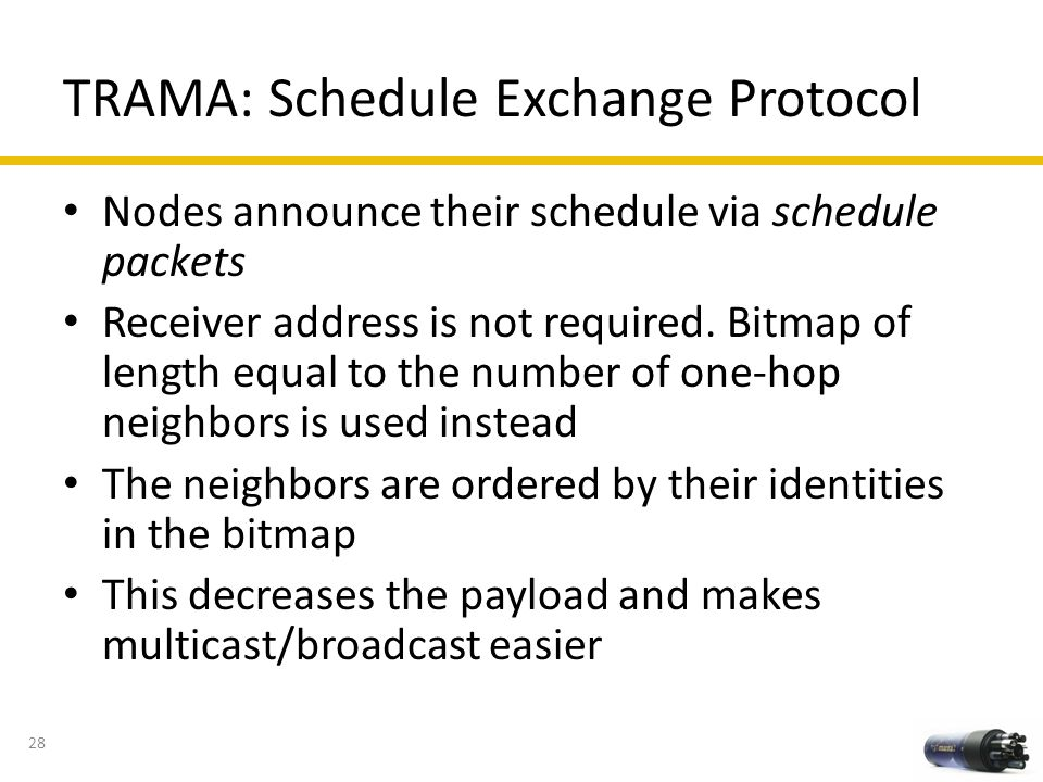 TRAMA: Schedule Exchange Protocol Nodes announce their schedule via schedule packets Receiver address is not required. Bitmap of length equal to the n