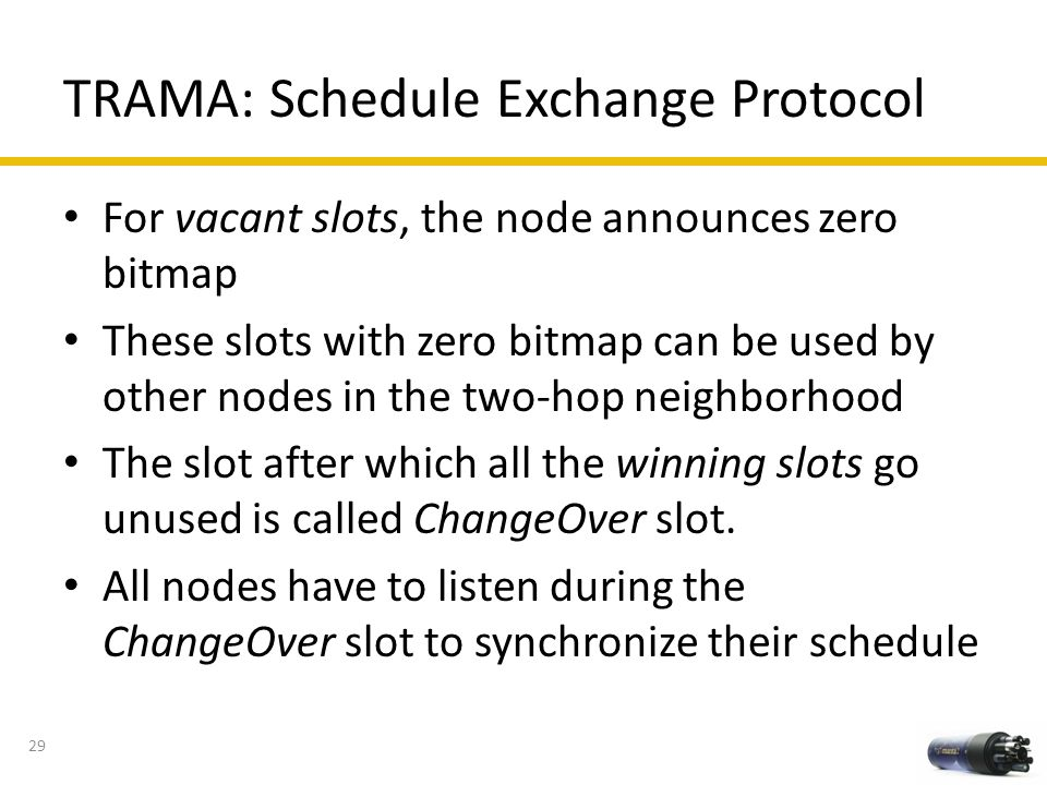 TRAMA: Schedule Exchange Protocol For vacant slots, the node announces zero bitmap These slots with zero bitmap can be used by other nodes in the two-