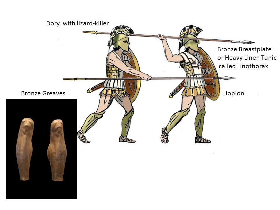 Bronze Greaves Dory, with lizard-killer Hoplon Bronze Breastplate or Heavy Linen Tunic called Linothorax