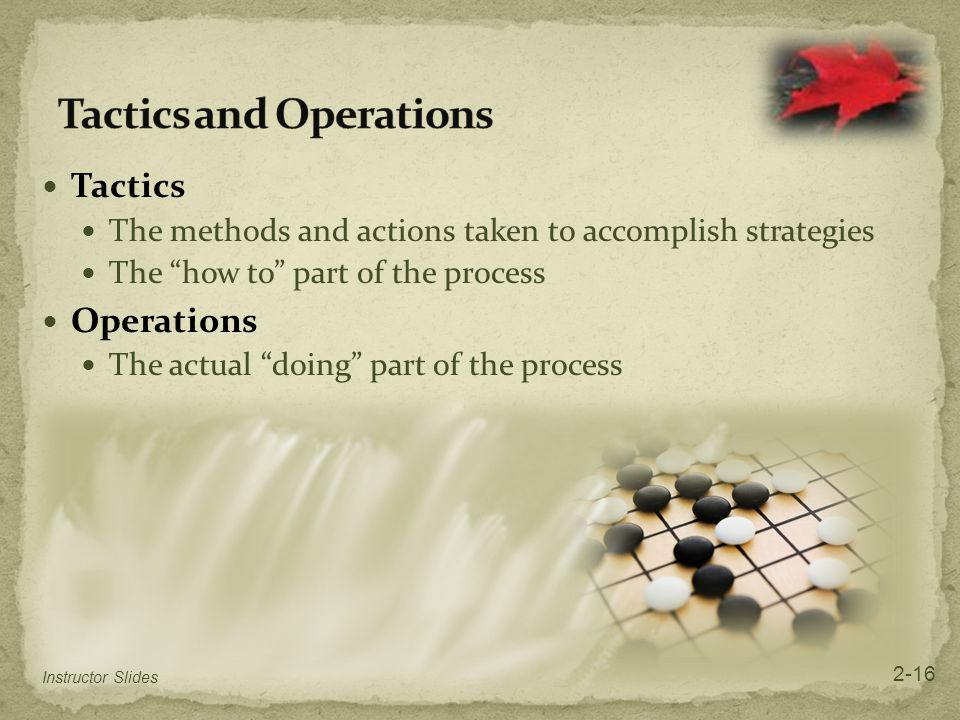"""Tactics The methods and actions taken to accomplish strategies The """"how to"""" part of the process Operations The actual """"doing"""" part of the process Inst"""