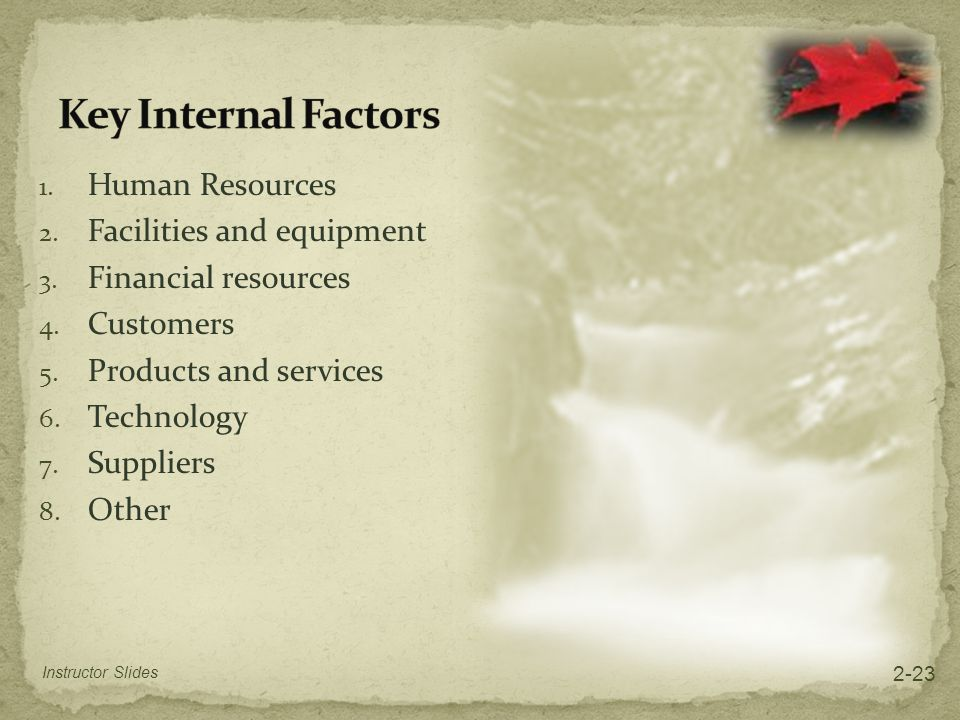1. Human Resources 2. Facilities and equipment 3. Financial resources 4. Customers 5. Products and services 6. Technology 7. Suppliers 8. Other Instru