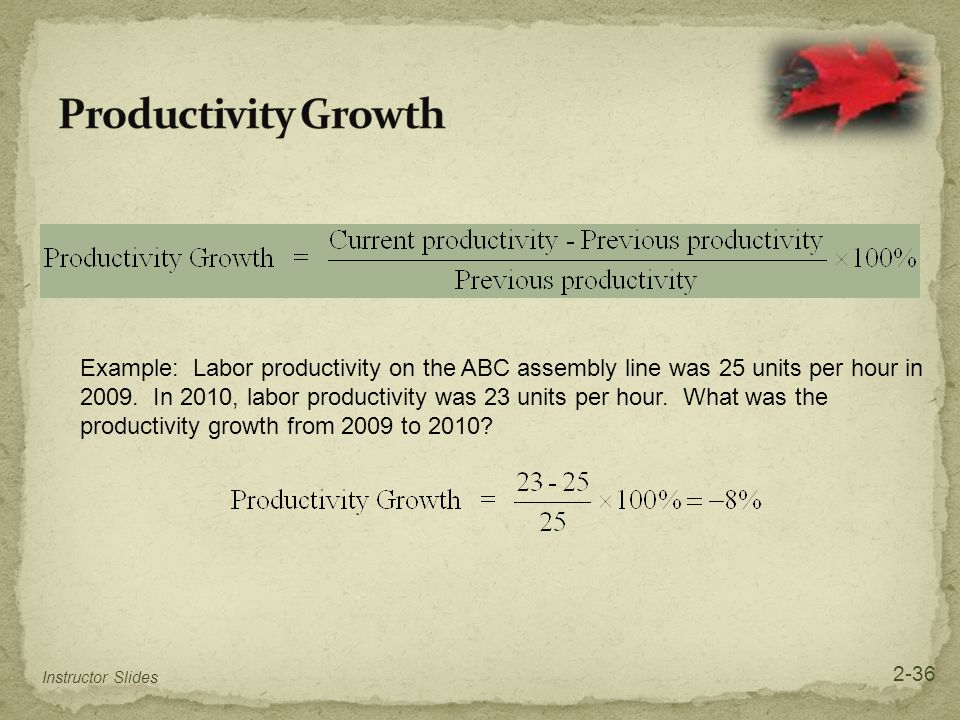 Example: Labor productivity on the ABC assembly line was 25 units per hour in 2009. In 2010, labor productivity was 23 units per hour. What was the pr