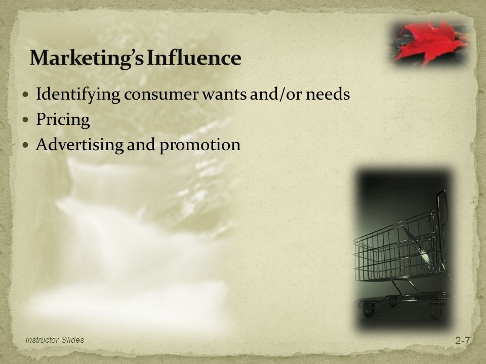 Identifying consumer wants and/or needs Pricing Advertising and promotion Instructor Slides 2-7