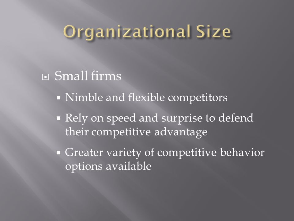  Small firms  Nimble and flexible competitors  Rely on speed and surprise to defend their competitive advantage  Greater variety of competitive behavior options available