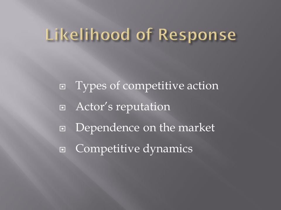  Types of competitive action  Actor's reputation  Dependence on the market  Competitive dynamics