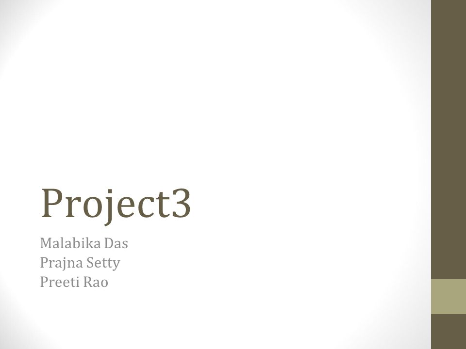 Project3 Malabika Das Prajna Setty Preeti Rao