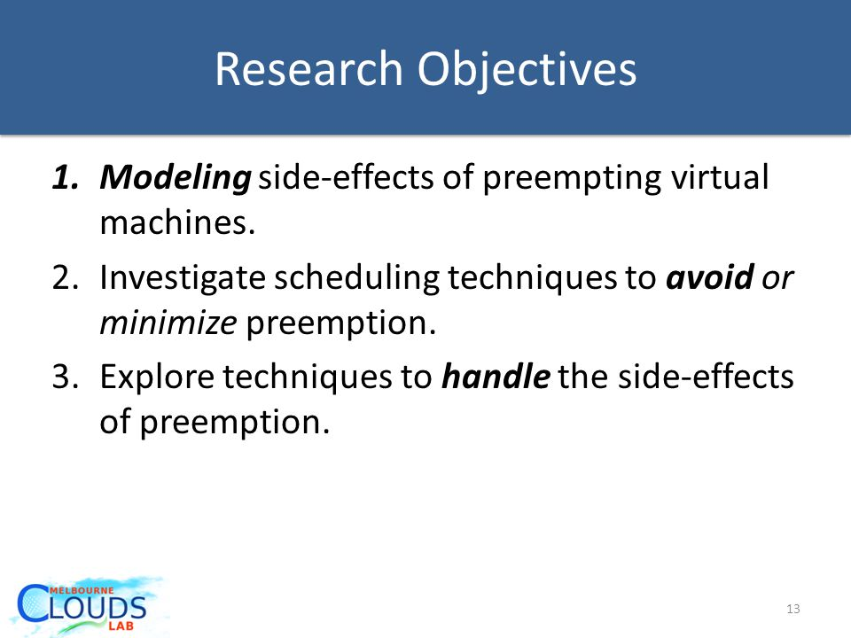 Research Objectives 1.Modeling side-effects of preempting virtual machines.