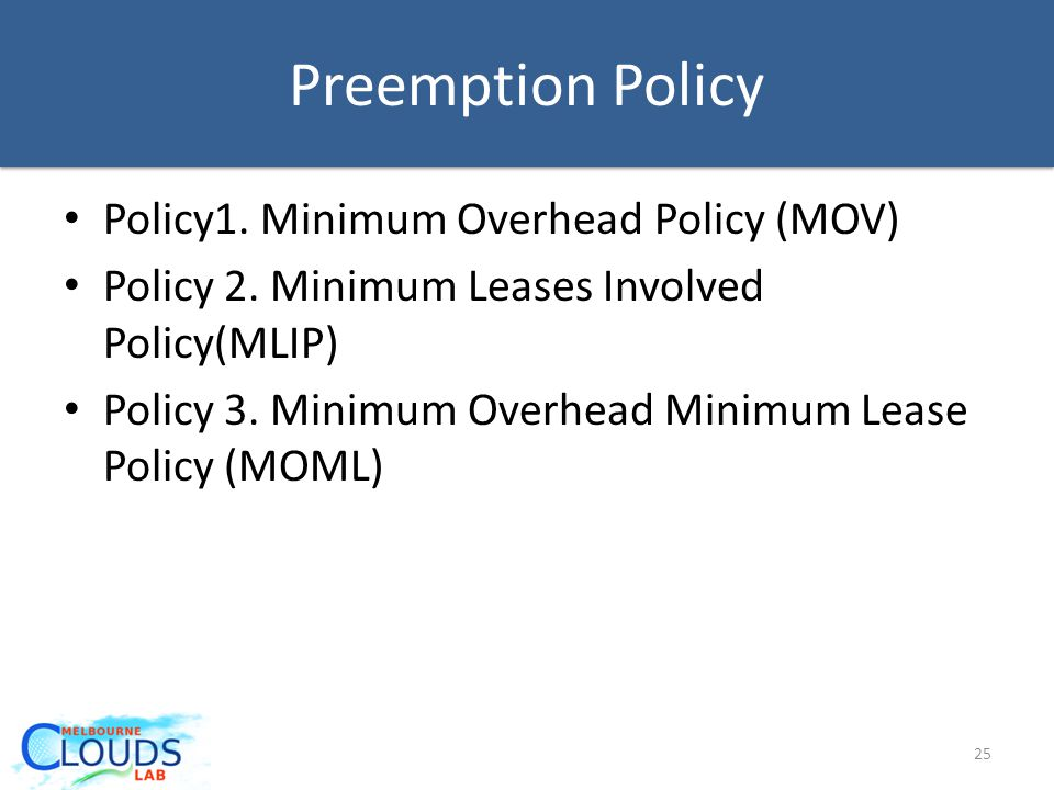Preemption Policy Policy1.Minimum Overhead Policy (MOV) Policy 2.