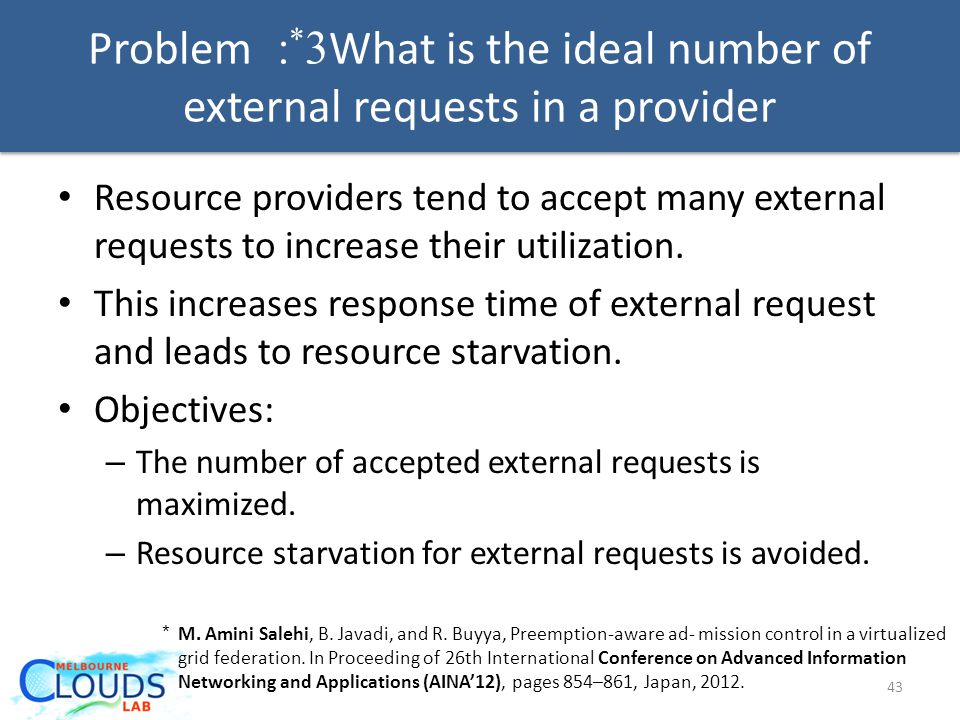 Problem 3 * : What is the ideal number of external requests in a provider 43 Resource providers tend to accept many external requests to increase their utilization.