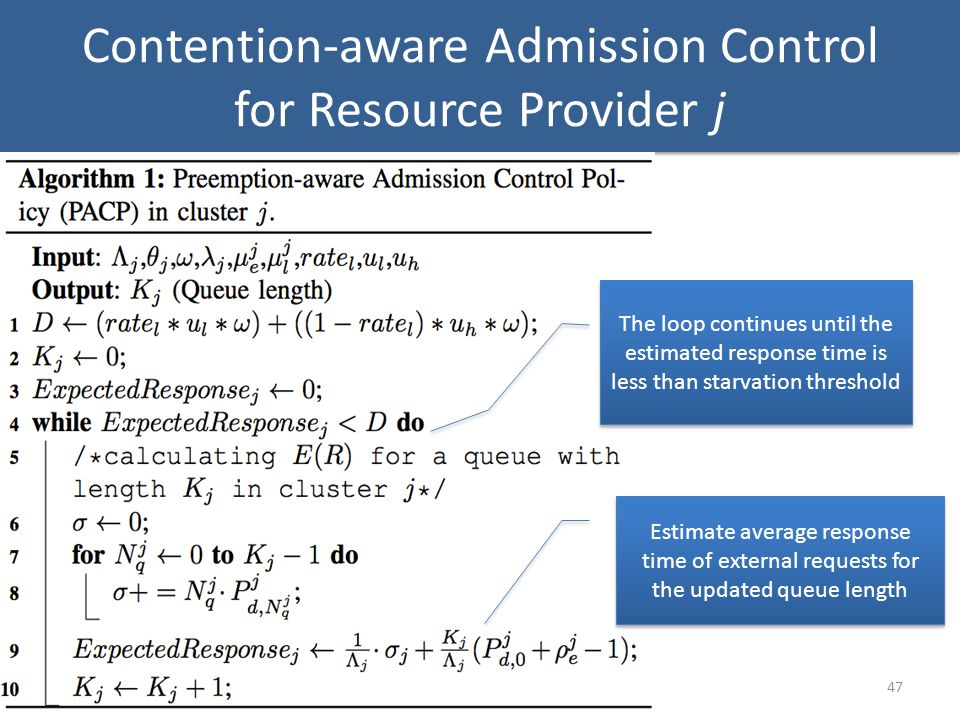 Contention-aware Admission Control for Resource Provider j 47 Estimate average response time of external requests for the updated queue length The loop continues until the estimated response time is less than starvation threshold