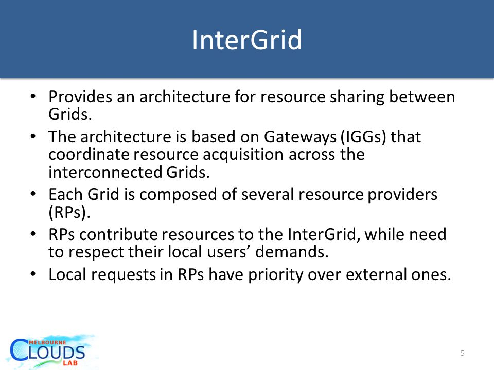 InterGrid Provides an architecture for resource sharing between Grids.