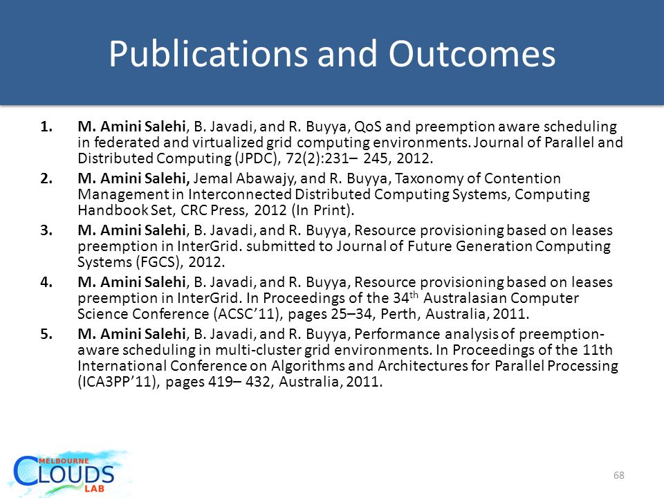Publications and Outcomes 1.M.Amini Salehi, B. Javadi, and R.