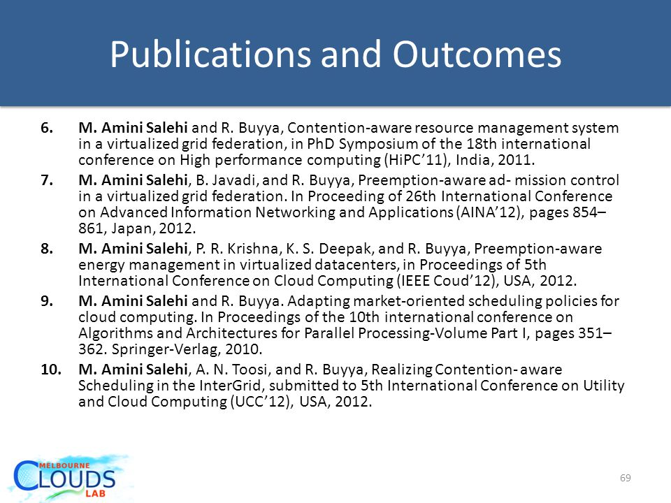 Publications and Outcomes 6.M.Amini Salehi and R.