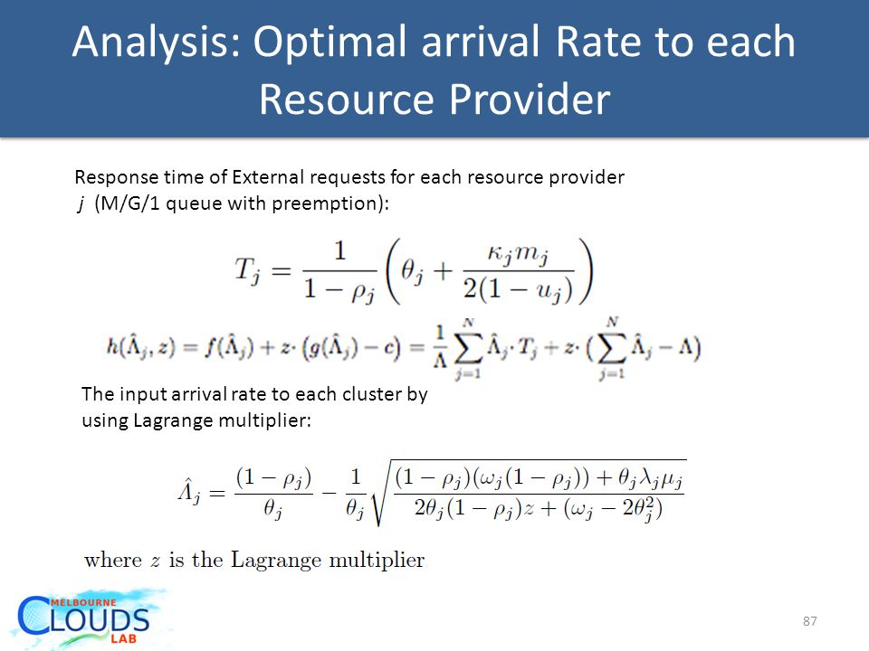 Analysis: Optimal arrival Rate to each Resource Provider 87 Response time of External requests for each resource provider j (M/G/1 queue with preemption): The input arrival rate to each cluster by using Lagrange multiplier: