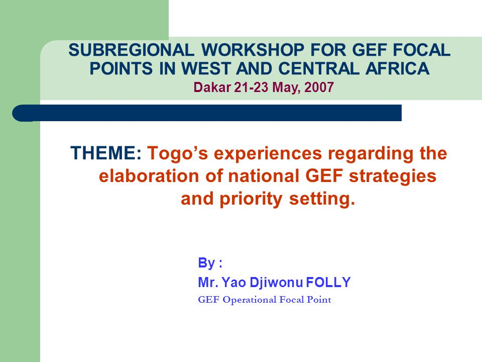 THEME: Togo's experiences regarding the elaboration of national GEF strategies and priority setting.