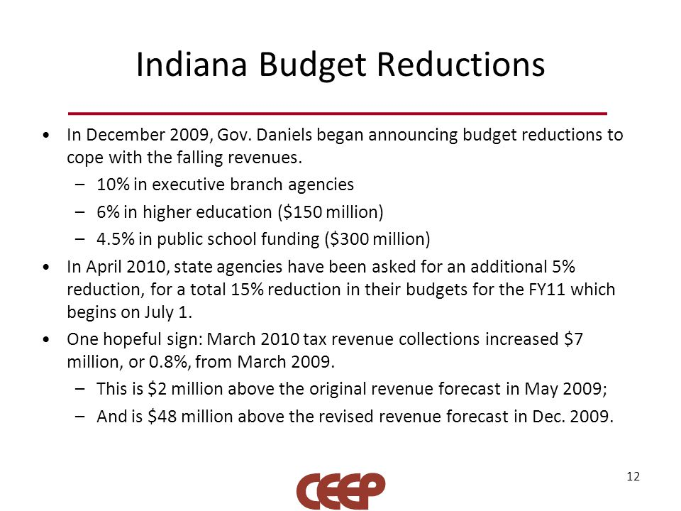 Indiana Budget Reductions In December 2009, Gov. Daniels began announcing budget reductions to cope with the falling revenues. –10% in executive branc