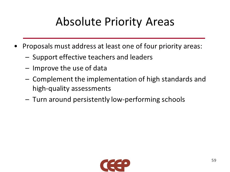 Absolute Priority Areas Proposals must address at least one of four priority areas: –Support effective teachers and leaders –Improve the use of data –