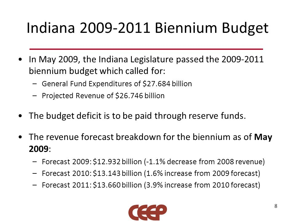 Indiana 2009-2011 Biennium Budget In May 2009, the Indiana Legislature passed the 2009-2011 biennium budget which called for: –General Fund Expenditur