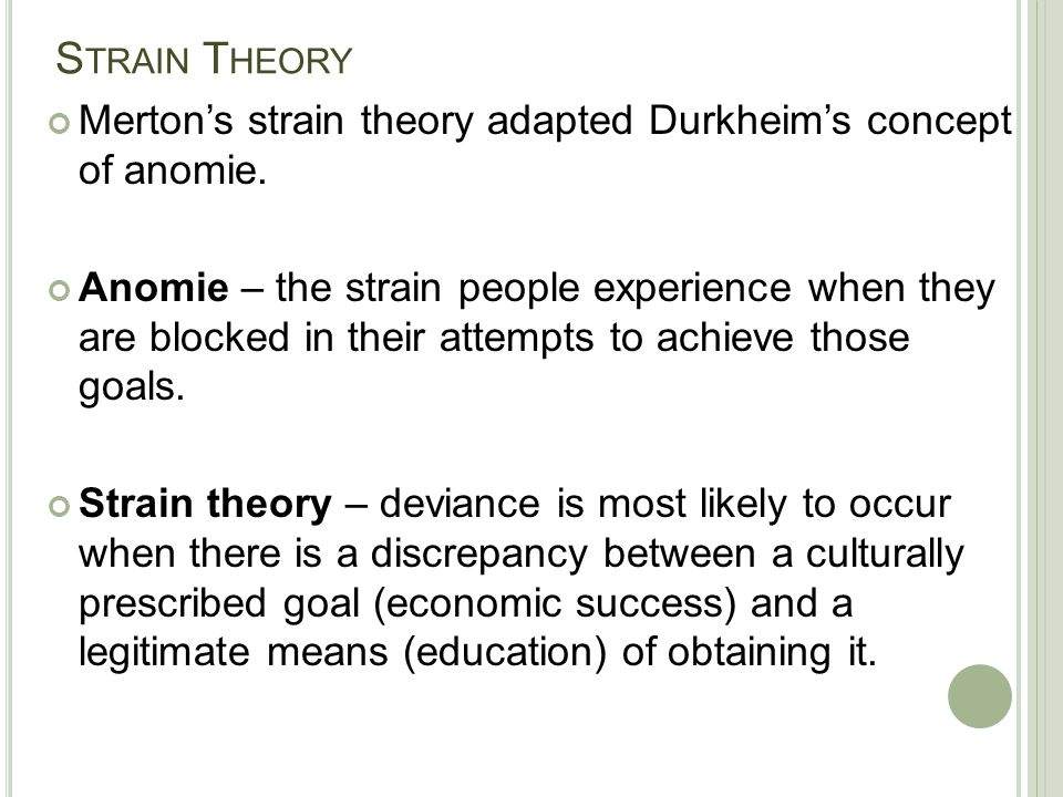 S TRAIN T HEORY Merton's strain theory adapted Durkheim's concept of anomie. Anomie – the strain people experience when they are blocked in their atte