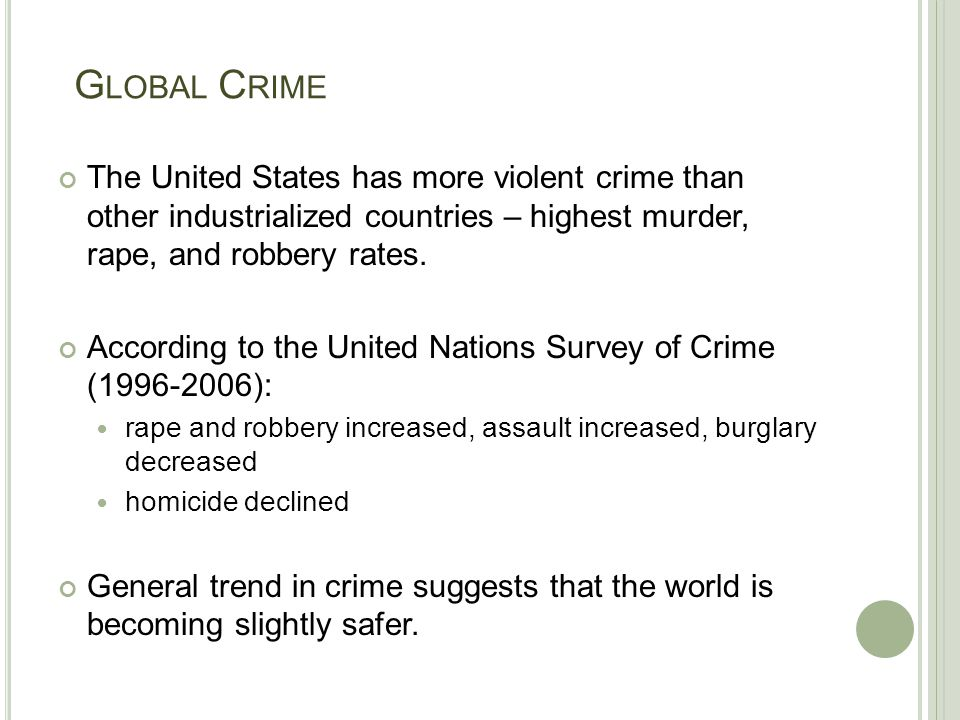 G LOBAL C RIME The United States has more violent crime than other industrialized countries – highest murder, rape, and robbery rates. According to th