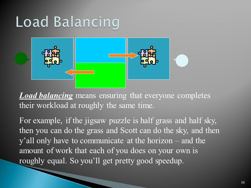 10 Load balancing means ensuring that everyone completes their workload at roughly the same time.