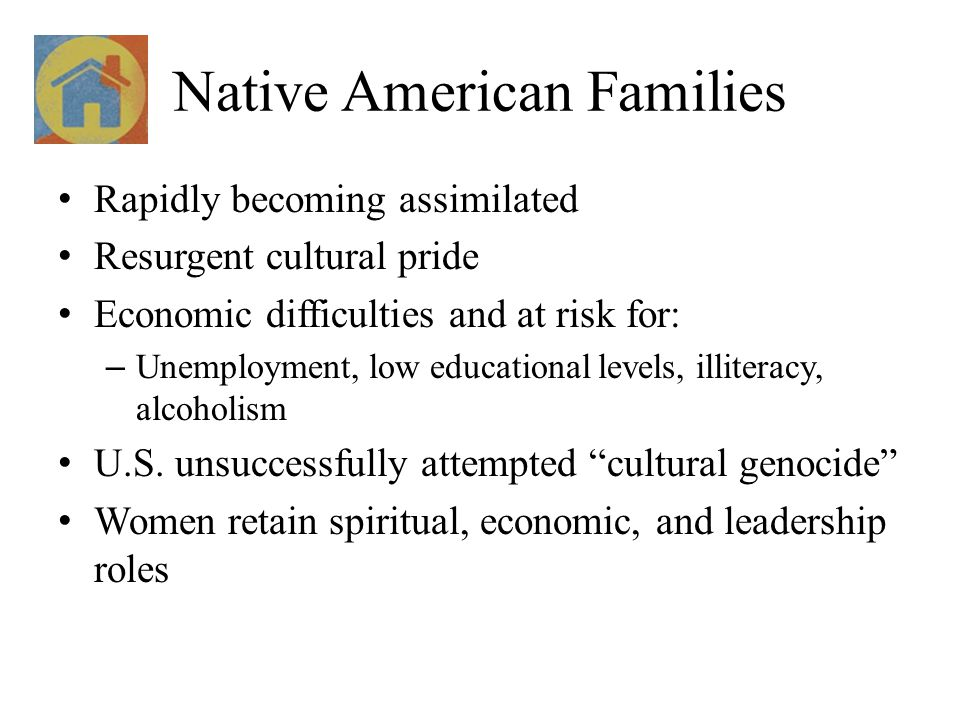 Native American Families Rapidly becoming assimilated Resurgent cultural pride Economic difficulties and at risk for: – Unemployment, low educational
