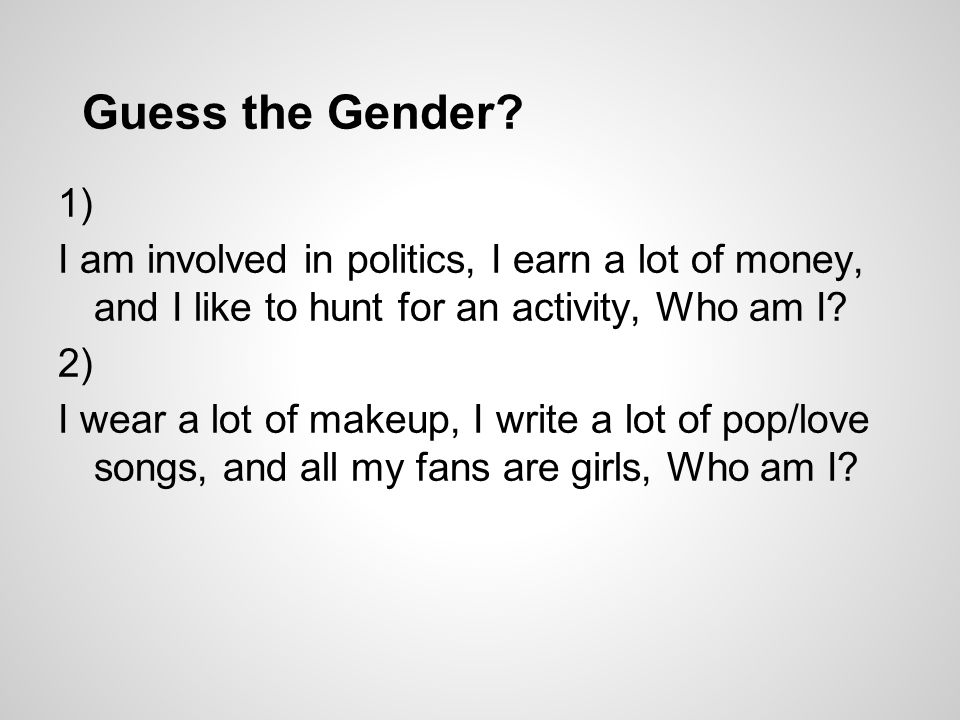 1) I am involved in politics, I earn a lot of money, and I like to hunt for an activity, Who am I.