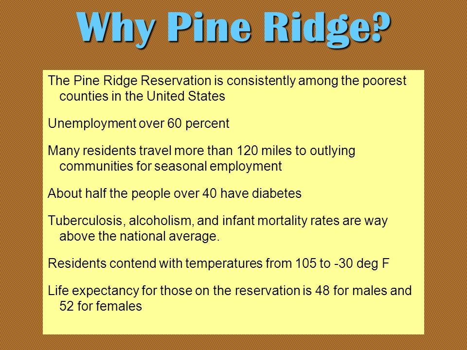The Pine Ridge Reservation is consistently among the poorest counties in the United States Unemployment over 60 percent Many residents travel more than 120 miles to outlying communities for seasonal employment About half the people over 40 have diabetes Tuberculosis, alcoholism, and infant mortality rates are way above the national average.