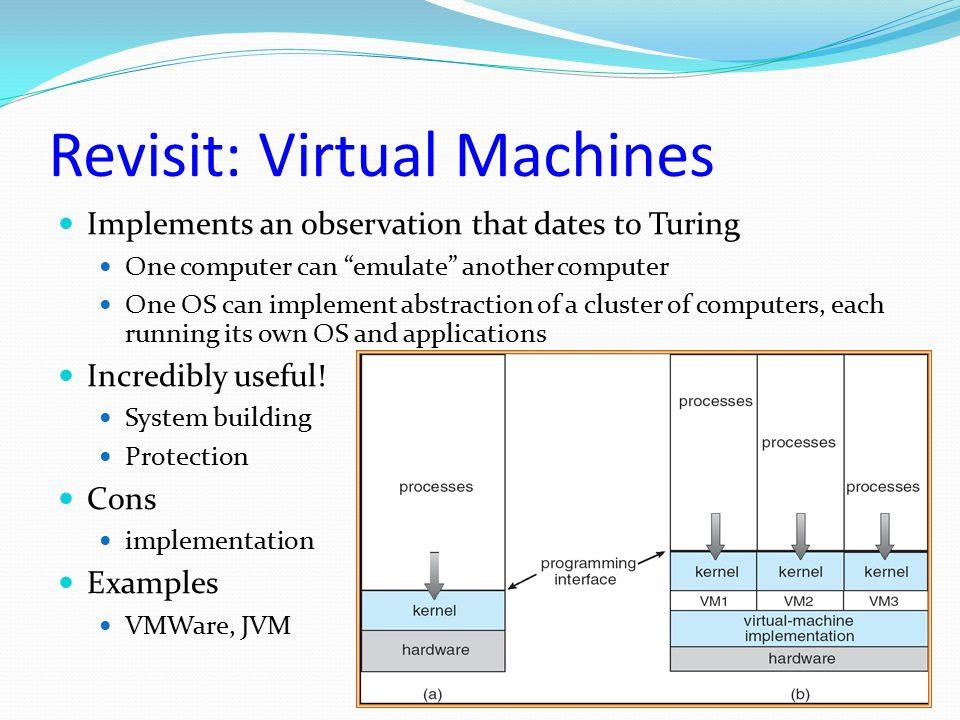 """Revisit: Virtual Machines Implements an observation that dates to Turing One computer can """"emulate"""" another computer One OS can implement abstraction"""