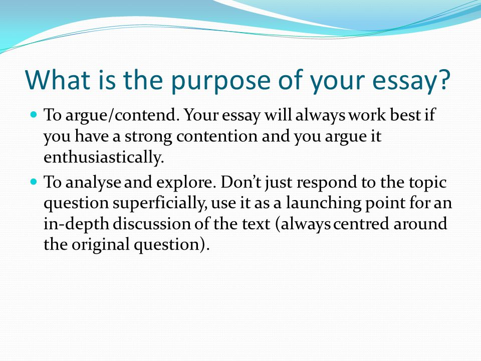 working purpose of essay