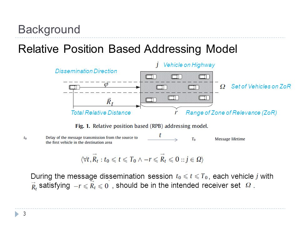 Background 4 Directional Greedy Broadcast Routing (DGBR) Vehicle A is assumed to be the message source node, and it transmits the message to its front vehicles by its front directional antenna.