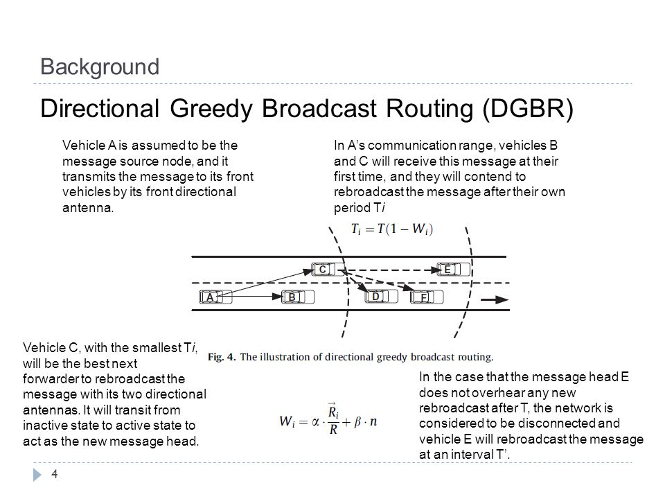 Background 4 Directional Greedy Broadcast Routing (DGBR) Vehicle A is assumed to be the message source node, and it transmits the message to its front