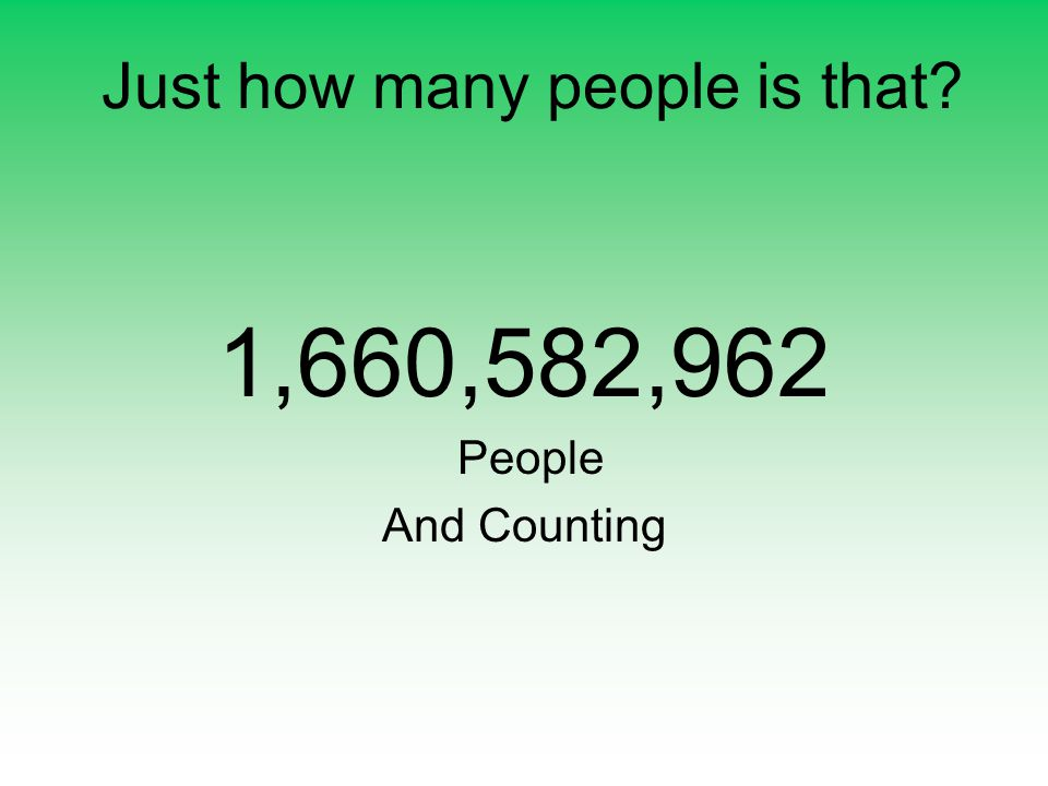 Just how many people is that 1,660,582,962 People And Counting