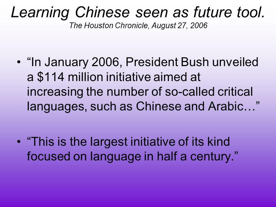 Learning Chinese seen as future tool.