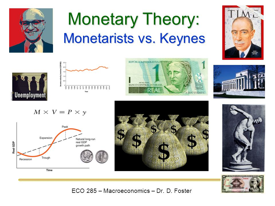 Friedman and the Monetarist View We can imagine a market for money… --money demand depends on income (mostly) and on interest rates (slightly) --money supply affects spending directly:  MS – Excess MS -  AD [  P  Q in short run] The Fed buys bonds, Banks have more reserves, Banks make more loans, Spending goes up across economy.