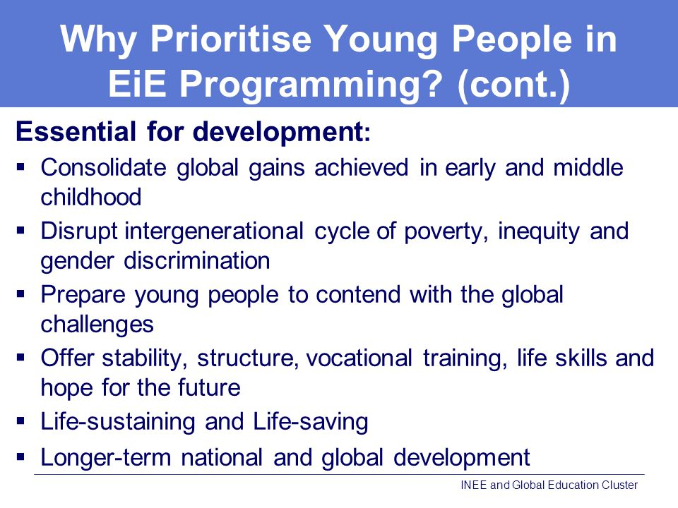 Why Prioritise Young People in EiE Programming.