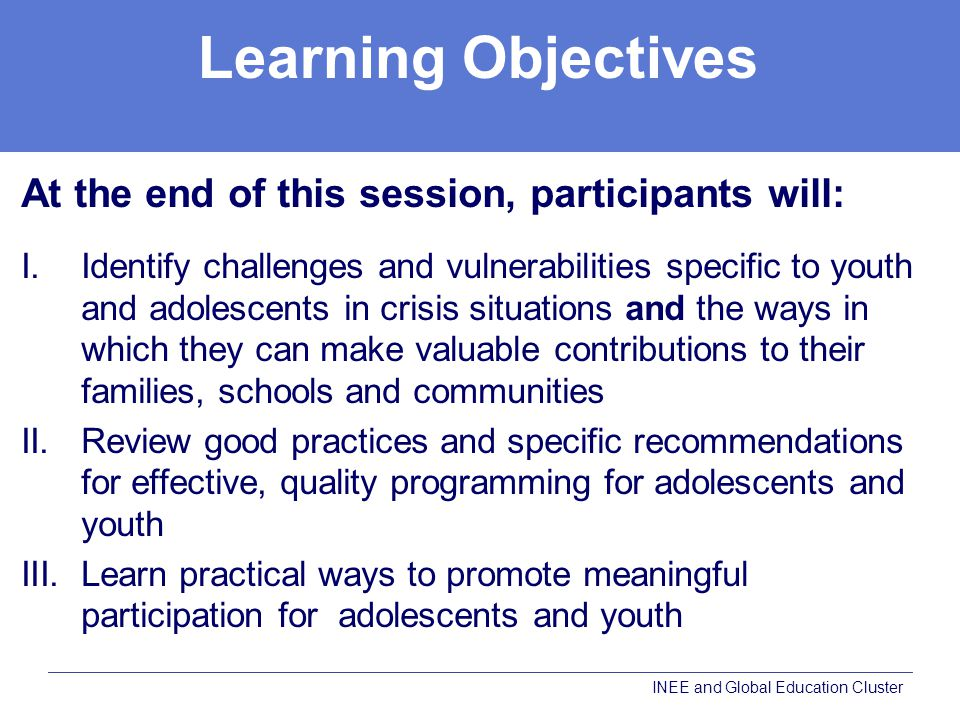 Learning Objectives At the end of this session, participants will: I.Identify challenges and vulnerabilities specific to youth and adolescents in crisis situations and the ways in which they can make valuable contributions to their families, schools and communities II.Review good practices and specific recommendations for effective, quality programming for adolescents and youth III.Learn practical ways to promote meaningful participation for adolescents and youth INEE and Global Education Cluster