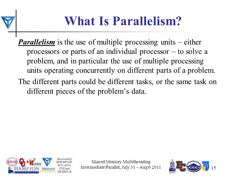 Sponsored by DOD HPCMP, SC11/ACM, NCSI and OK EPSCoR 15 What Is Parallelism.