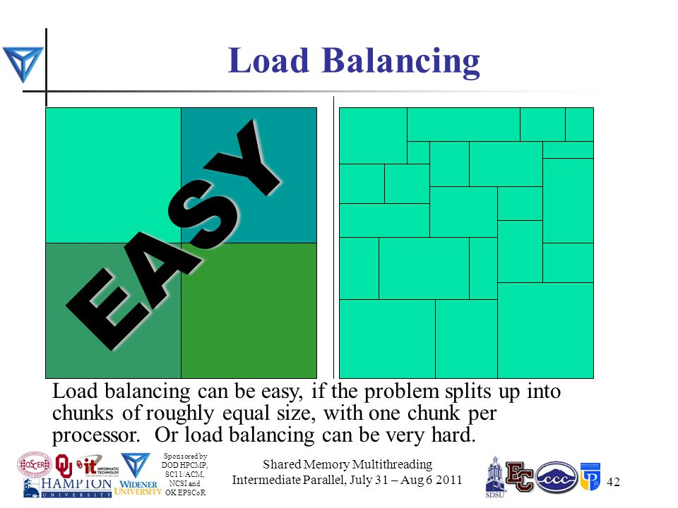 Sponsored by DOD HPCMP, SC11/ACM, NCSI and OK EPSCoR 42 Load Balancing Load balancing can be easy, if the problem splits up into chunks of roughly equal size, with one chunk per processor.
