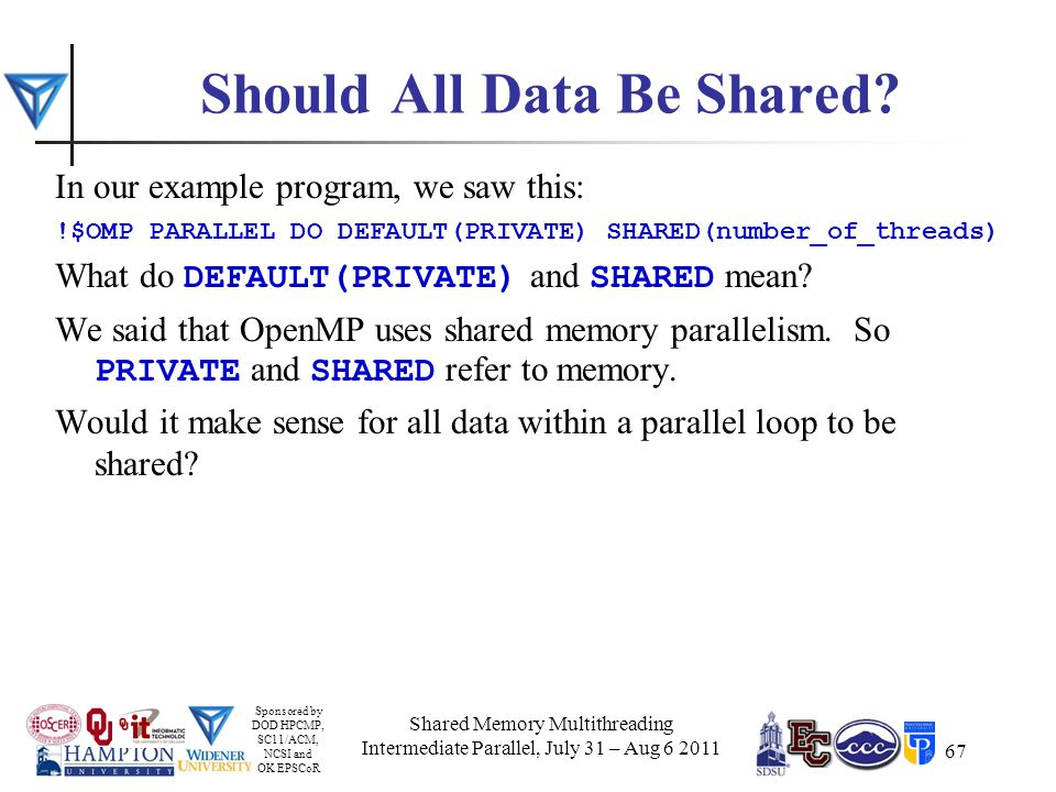 Sponsored by DOD HPCMP, SC11/ACM, NCSI and OK EPSCoR 67 Should All Data Be Shared.