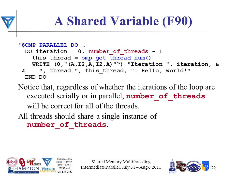Sponsored by DOD HPCMP, SC11/ACM, NCSI and OK EPSCoR 72 A Shared Variable (F90) !$OMP PARALLEL DO … DO iteration = 0, number_of_threads - 1 this_thread = omp_get_thread_num() WRITE (0, (A,I2,A,I2,A) ) Iteration , iteration, & & , thread , this_thread, : Hello, world! END DO Notice that, regardless of whether the iterations of the loop are executed serially or in parallel, number_of_threads will be correct for all of the threads.