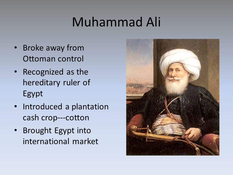 Muhammad Ali Broke away from Ottoman control Recognized as the hereditary ruler of Egypt Introduced a plantation cash crop---cotton Brought Egypt into international market
